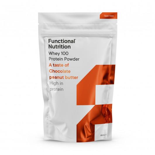 Proteinpulver fra Functional Nutrition med et indhold på 75,7 g protein pr. 100 g.